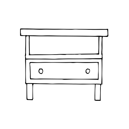 Vector drawing of a nightstand. Sketch stile. A linear pattern. Black and white doodles Isolated on a white background. Modern furniture for bedroom, study, living room.