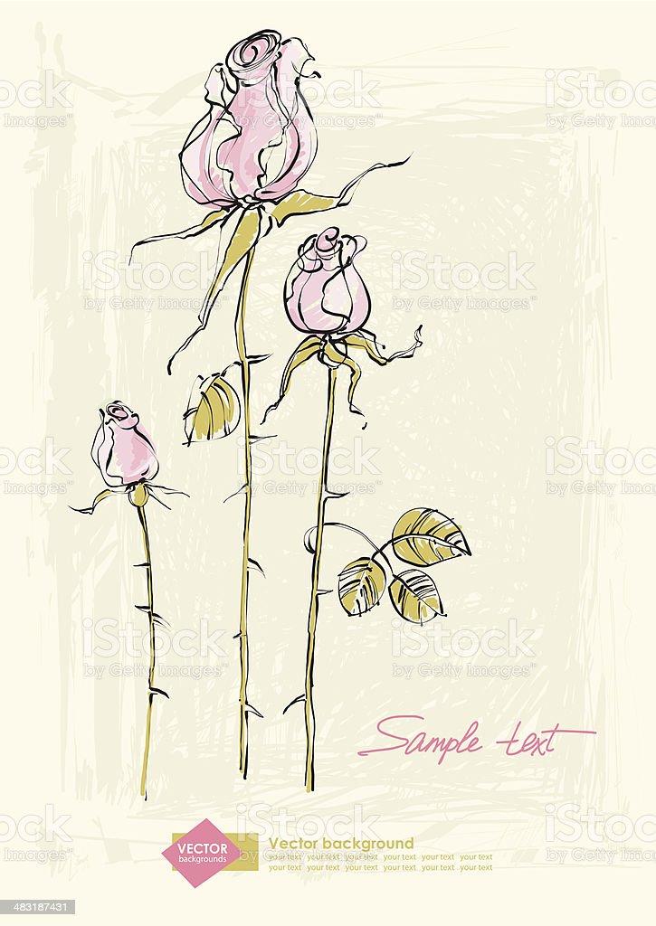 Vecteur De Dessin Dune Rose Rose Fleur Cliparts Vectoriels Et Plus