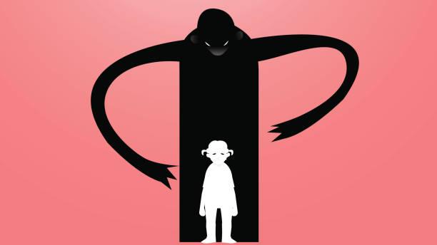 ベクトル図をいじめは、一つのモンスターに囲まれて悲しい、落ち込んでいる女の子の描画 - ドキドキ点のイラスト素材/クリップアート素材/マンガ素材/アイコン素材