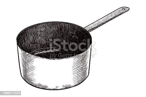 istock Vector drawing of a saucepan 1306111224