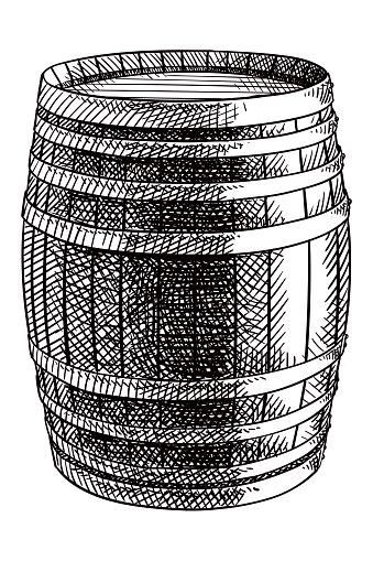Vector drawing of a wine barrel