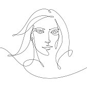 Vector drawing of a woman, drawn with a continuous line