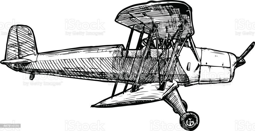 Dibujo de avión estilizado como grabado vectorial - ilustración de arte vectorial