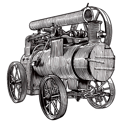 Vector drawing of an old steam tractor