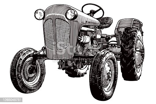 Old style illustration of vintage tractor