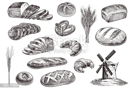 Vector drawing of bakery products