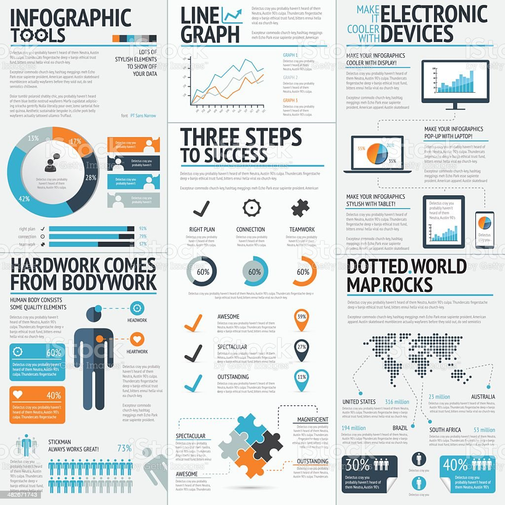 Vector drawing of business infographic elements vector art illustration