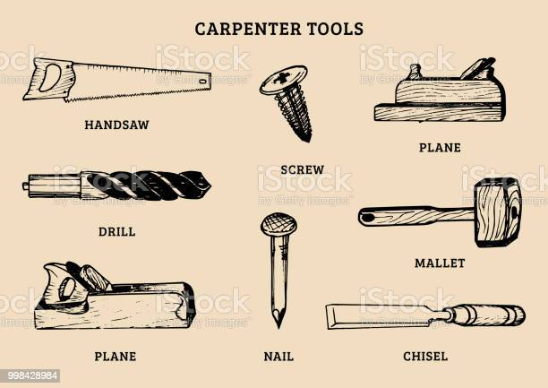 Vector drawing of carpentry toolsillustration of wood works equipment vector id998428984?b=1&k=6&m=998428984&s=612x612&h= zrytphoiuvfuno mng74yhbqjqmml xvsxrcn nkfg=