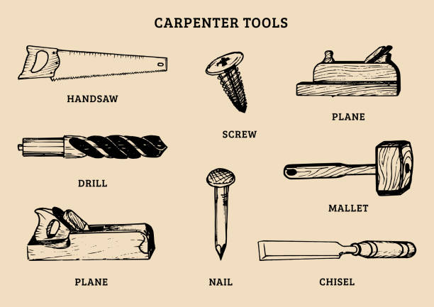 vector drawing of carpentry tools.illustration of wood works equipment elements. - carpenter stock illustrations, clip art, cartoons, & icons