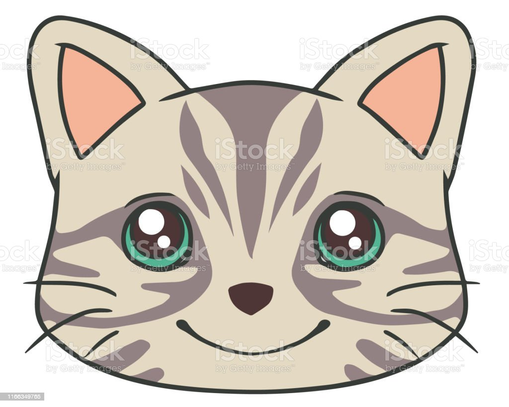 Vector Drawing Of Cartoon Style Face Of A Cute Gray Tabby Cat With