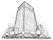Cartoon vector architectural drawing sketch illustration of city street with high rise building.