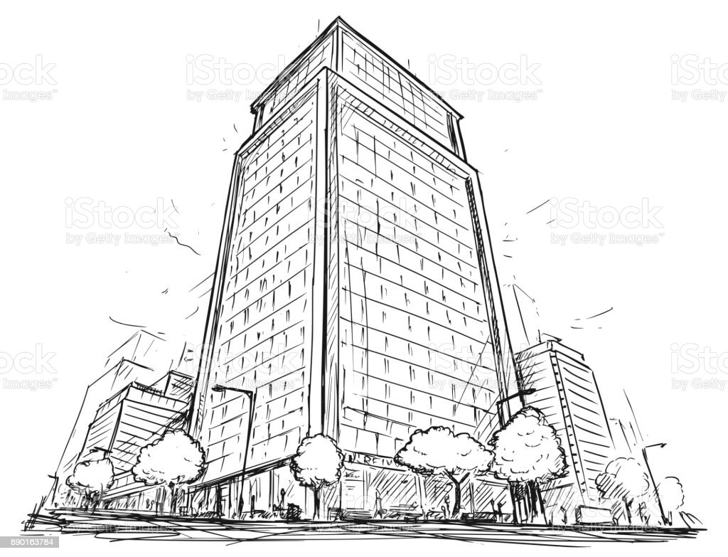 Vector Drawing of City Street High Rise Building vector art illustration
