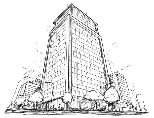 vector drawing of city street high rise building - architecture designs stock illustrations