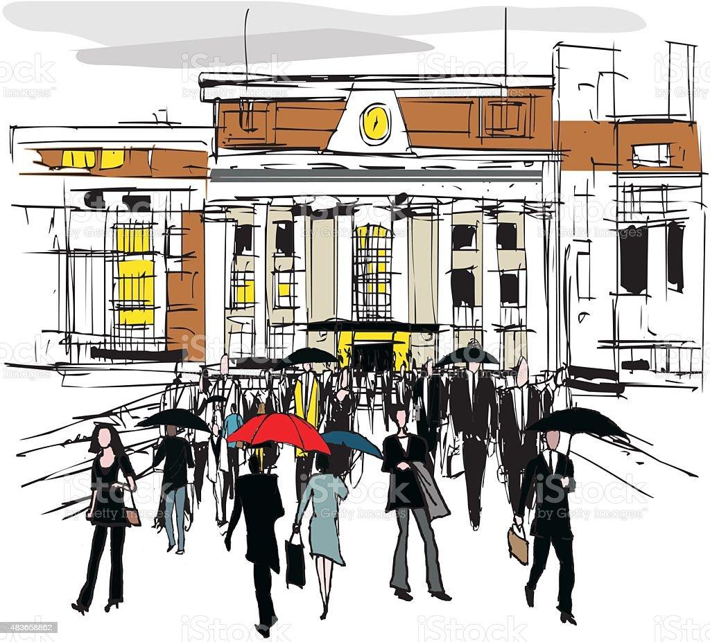 Vector drawing of commuters, Wellington New Zealand vector art illustration