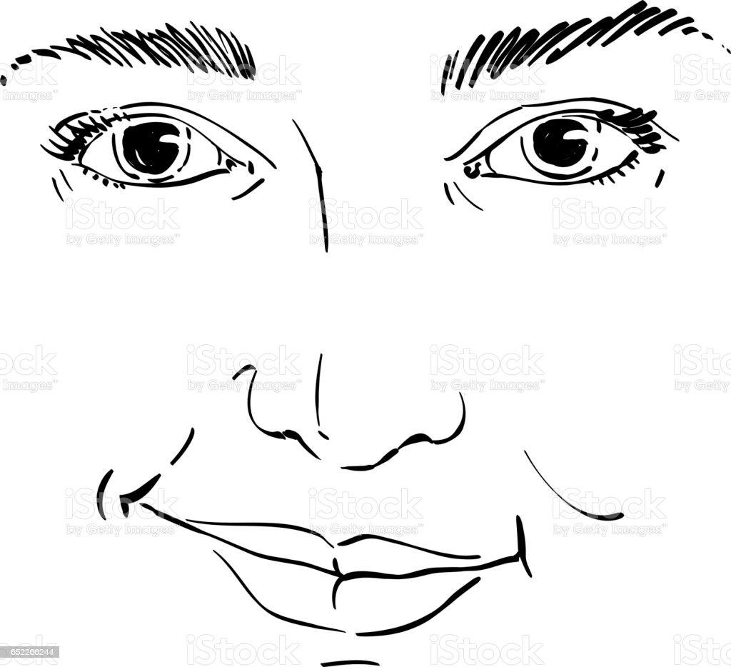 Dessin Vectoriel De Femme Méfiante Traits De Visage Portrait Noir Et Blanc De La Dame Douillette Ne Me Mens Pas Vecteurs Libres De Droits Et Plus