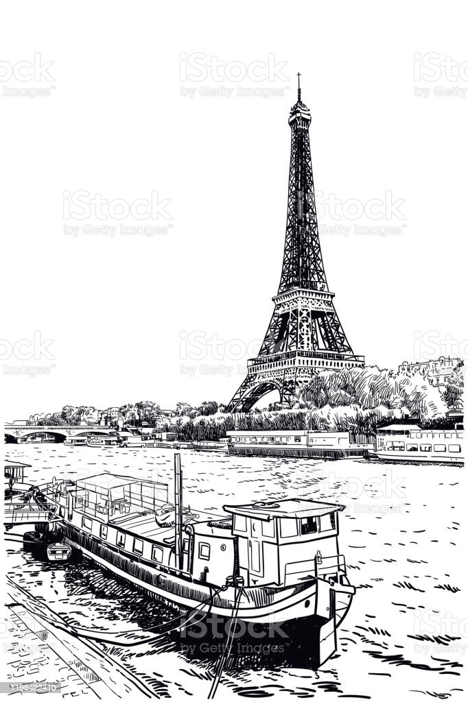 Vector Drawing Of Eiffel Tower Seen Across Seine River Stock Illustration Download Image Now Istock