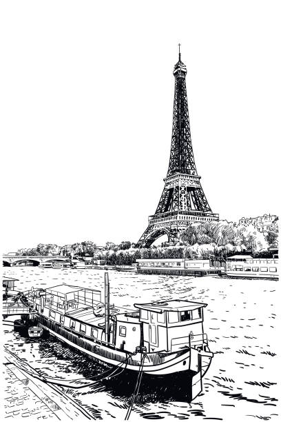 Vector drawing of Eiffel Tower seen across Seine River Classic style illustration of Paris landmark. In foreground is a boat on Seine river. In background seen across the water, famous Eiffel Tower seine river stock illustrations