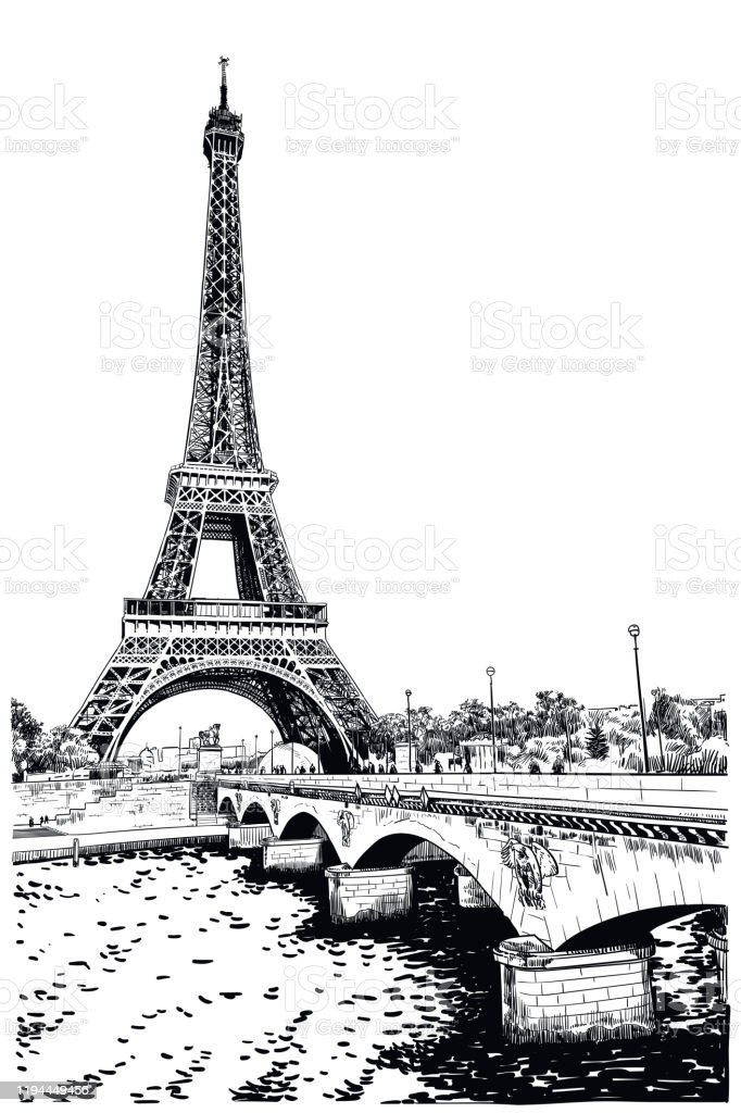 Vector Drawing Of Eiffel Tower Stock Illustration Download Image Now Istock