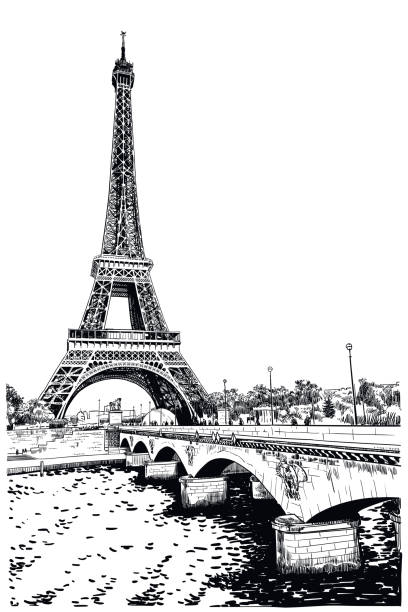 Vector drawing of Eiffel Tower Digital illustration of famous landmark of Paris. Old style, detailed, black and white drawing seine river stock illustrations