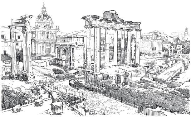 Vector drawing of Forum Romanum, ruins of ancient Rome Drawing of remains of ancient roman buildings roman forum stock illustrations