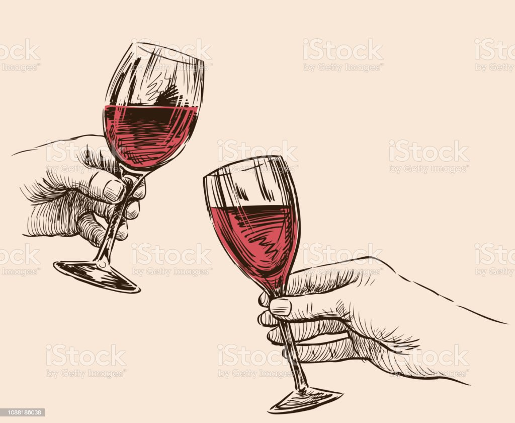Dessin De Mains Humaines Avec Verres À Vin Vectoriel Vecteurs libres de droits et plus d'images vectorielles de Alcool