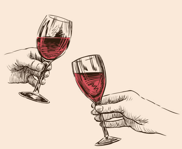 Vector drawing of human hands with wine glasses A sketches of human hands with glasses of wine. wine stock illustrations