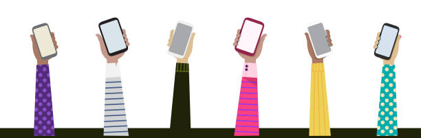 wektorowy rysunek izolowanych 6 ramion z różnych grup etnicznych z 6 różnymi strojami posiadającymi 6 smartfonów ilustracji, komunikacja, technologia, różnorodność, pojęcia odmiany - ręka człowieka stock illustrations