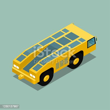 Vector drawing of Isometric aircraft tractor,tractor for towing aircraft during.Isolated on blue background.