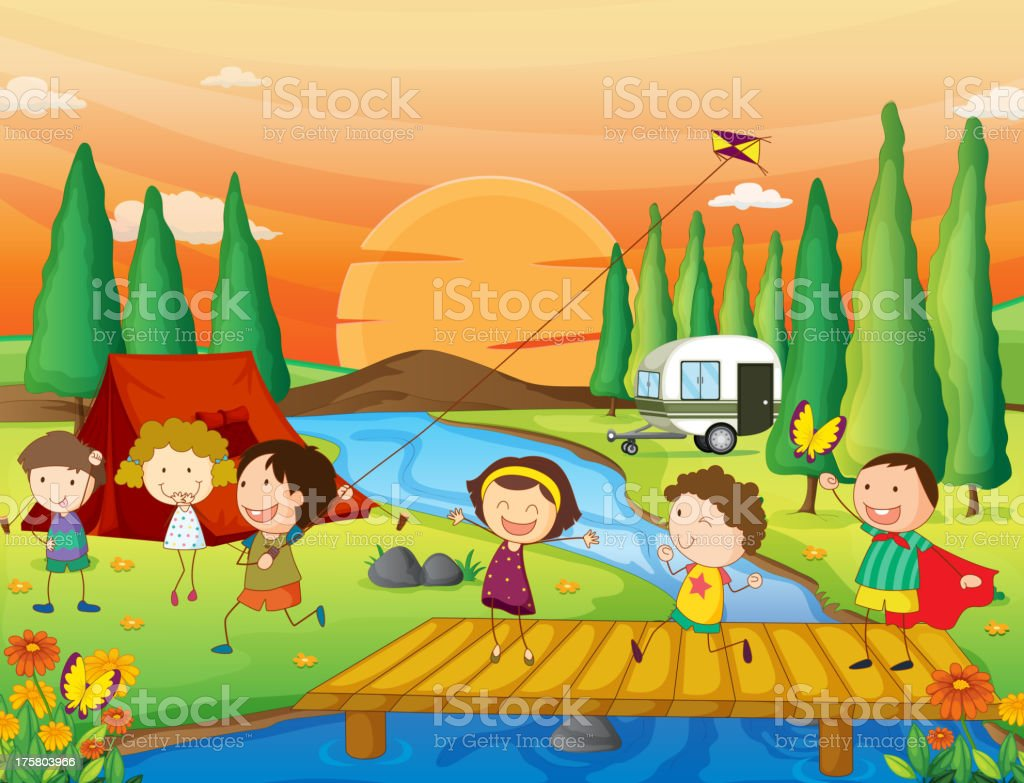 Vector drawing of kids camping in nature royalty-free vector drawing of kids camping in nature stock vector art & more images of adult