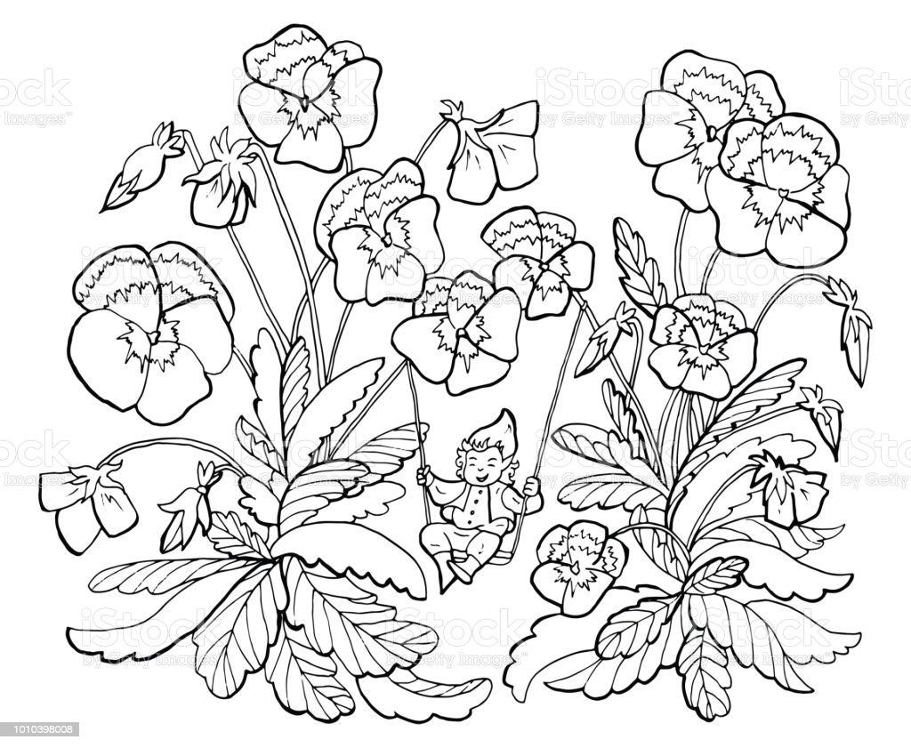 Ilustración de Dibujo De Gnomo Pequeño En Columpios Con Pansy Jardín ...