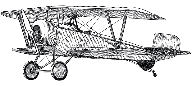 Vector drawing of old biplane on white background