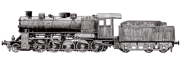 Vector drawing of old locomotive