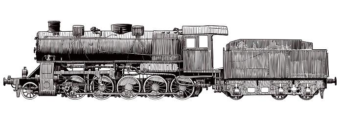 Engraving style of illustration of vintage steam engine