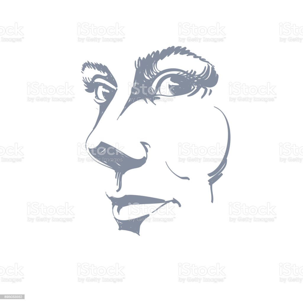Illustration Visage vector drawing of pensive woman thinking about something black and