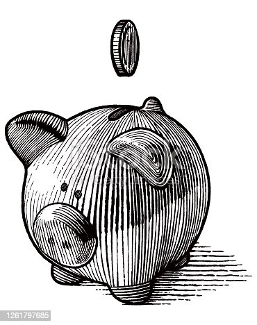 Engraving style illustration of moneybox. Coin and shadow are on separate layers, easy to select and edit