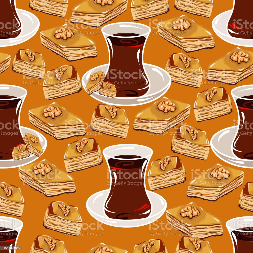Vector drawing of seamless pattern with turkish cup of tea and turkish baklava on a saucer vector art illustration