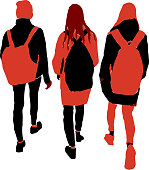 Vector image of silhouettes three students girls walking along street together.