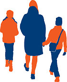 Vector image of silhouettes mother with her kids walking along street.