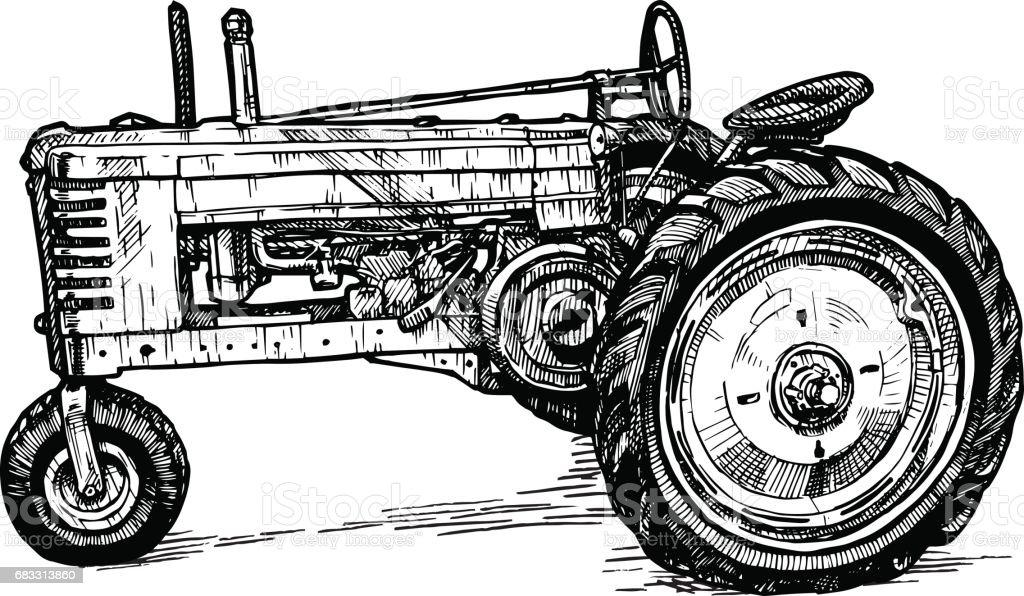 Vector drawing of tractor stylized as engraving vector drawing of tractor stylized as engraving - stockowe grafiki wektorowe i więcej obrazów akwaforta royalty-free