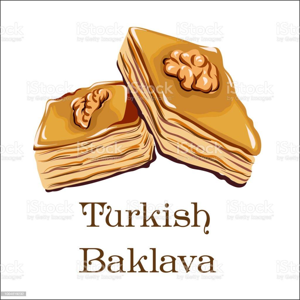 Vector drawing of Turkish dessert - baklava with Walnut vector art illustration