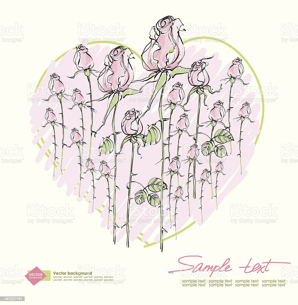 Vector drawing  pink roses on a background of hearts royalty-free stock vector art