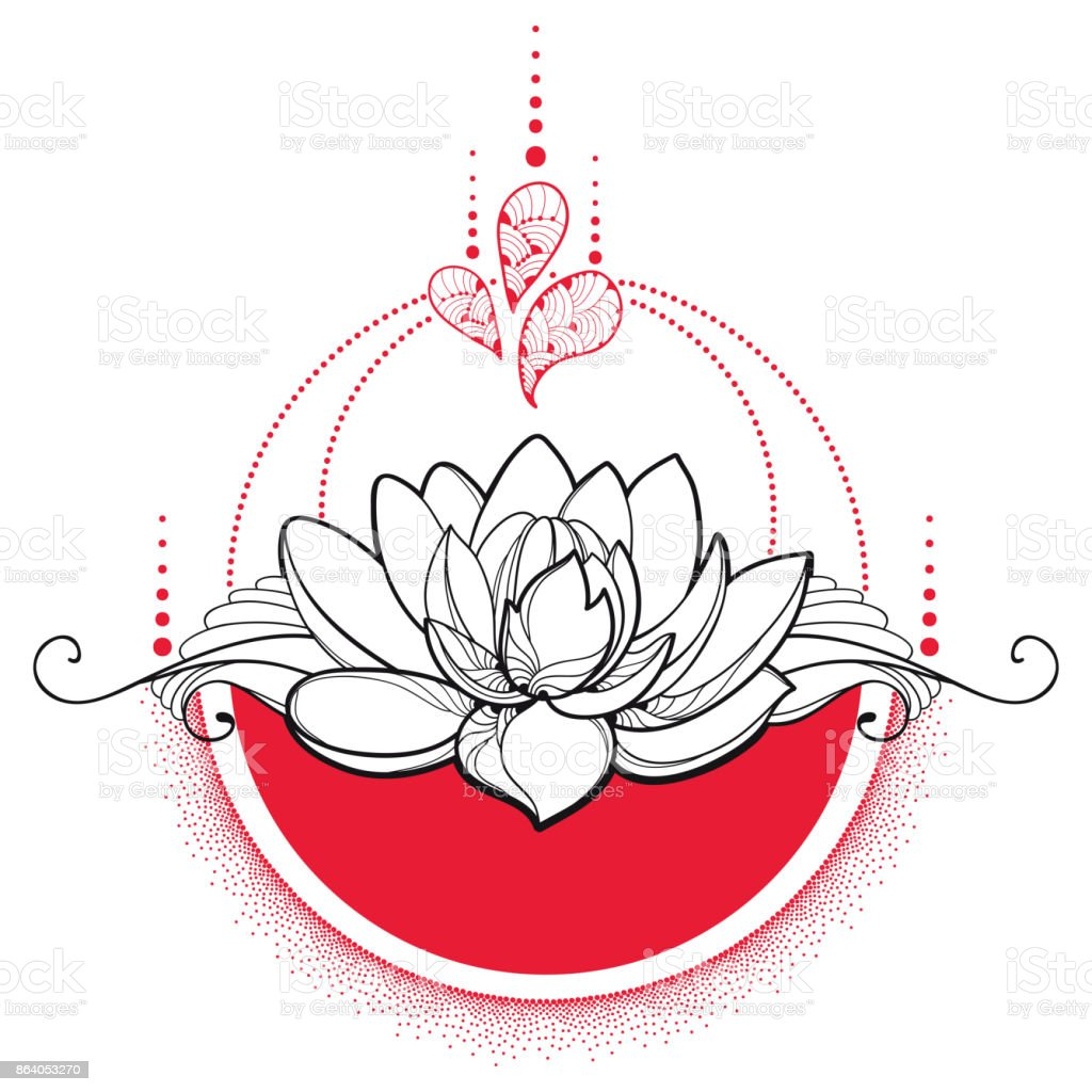 Vector Drawing With Outline Black Lotus Flower Red Dots And Swirls