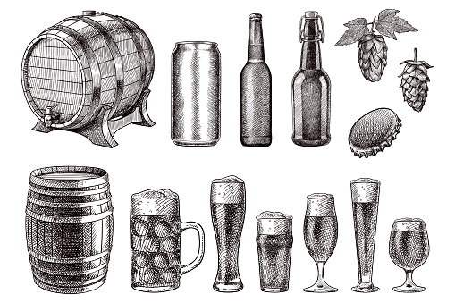 Vector drawings of beer related items