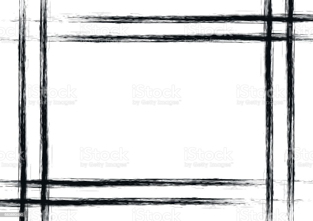 Vector Drawn Background With Frame Border Grunge Black And ...