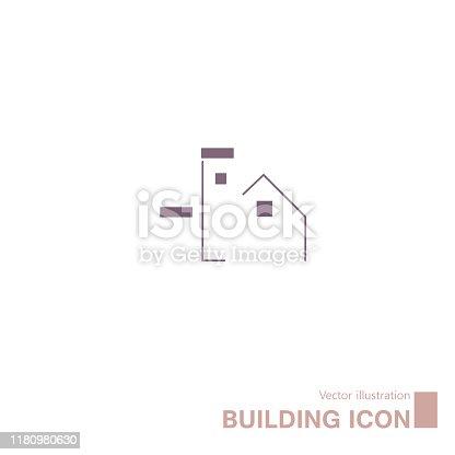 istock Vector drawn building icon. 1180980630