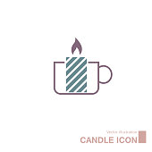 Vector drawn candle icon. Isolated on white background.