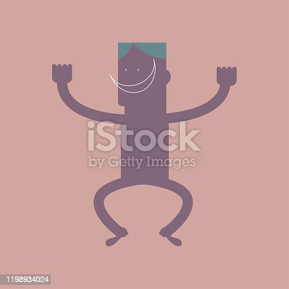 istock Vector drawn cartoon characters. Isolated on brown background. 1198934024