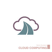 Vector drawn cloud computing icon. Isolated on white background.