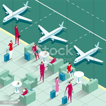 Vector drawn corner of the airport,Business travelers in airport lounge.