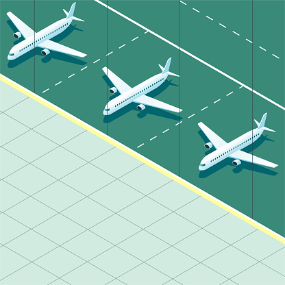 Vector drawn corner of the airport,three passenger planes parked on the green tarmac.